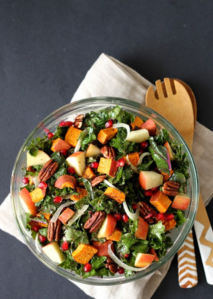 HOLIDAY KALE SALAD WITH FENNEL, SWEET POTATO, APPLE AND POMEGRANTE
