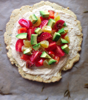 Gluten Free Rosemary Flatbread with Hummus and Vegetables