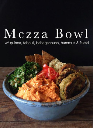 MEDITERRANEAN MEZZA BOWL WITH QUNIOA, TABOULI, BABAGANOUSH, HUMMUS AND FALAFELS