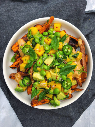 LOADED SWEET POTATO FRIES WITH TANGY MANGO SALAD AND ZIPPY PEANUT BUTTER SAUCE