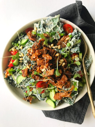 JACKFRUIT CHICKEN KALE SALAD WITH TANGY CREAMY DRESSING