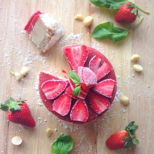 MindBodyGreen(dot)Com Recipe Feature- Decadent Vegan Strawberry Basil Cheesecake