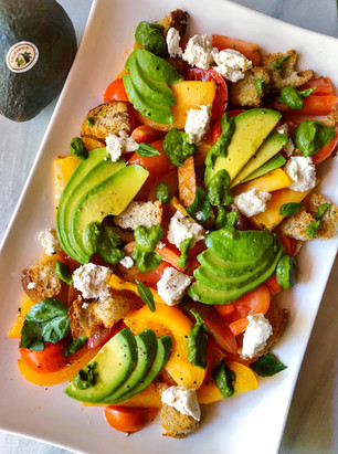 CALIFORNIA AVOCADO AND HEIRLOOM TOMATO PANZANELLA SALAD (SPONSORED BY CALIFORNIA AVOCADO COMMISSION)