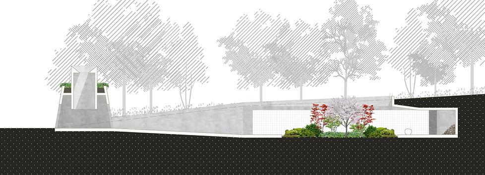 Architektur Luxemburg Florian Hertweck Studio Architecture Urbanism Schnitt Steinsel Friedhof Central Cemetry Entwurf