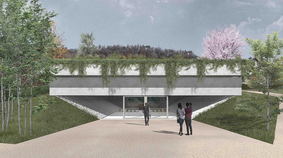 Architektur Luxemburg Florian Hertweck Studio Architecture Urbanism Perspektive Einsegnungshalle Steinsel Friedhof Central Cemetry Entwurf