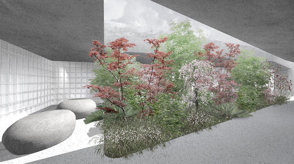 Architektur Luxemburg Florian Hertweck Studio Architecture Urbanism Perspektive Innenperspektive Ossarium Steinsel Friedhof Central Cemetry Entwurf