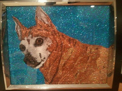 Glitter Pop Art Red Dog