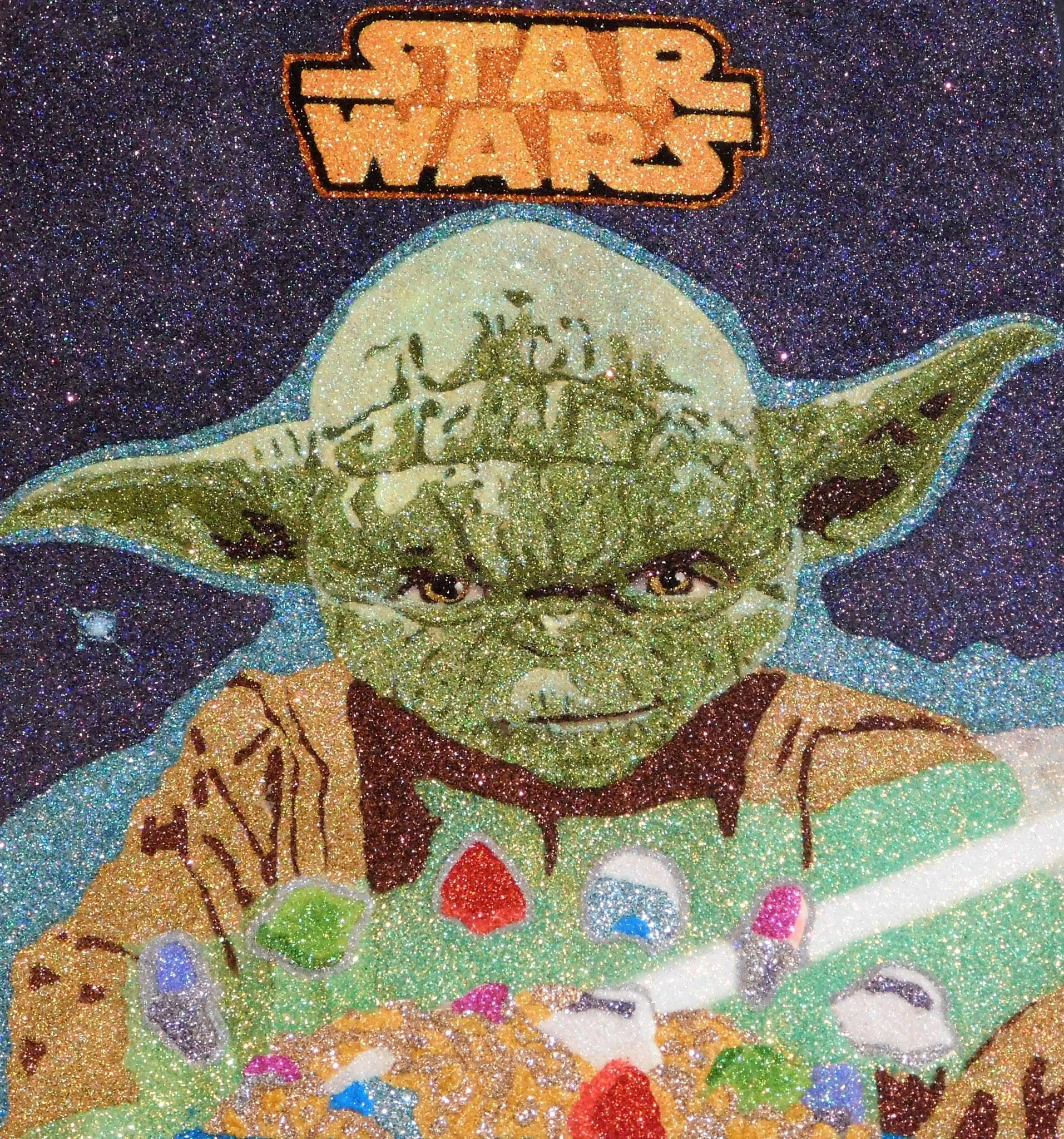 Glitter Pop Art Yoda Cereal Box