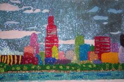 Glitter Pop Art Chicago Skyline
