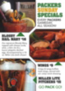 Packers, Bloody Hail Mary, Bar Specials, Packers Bar, Wings