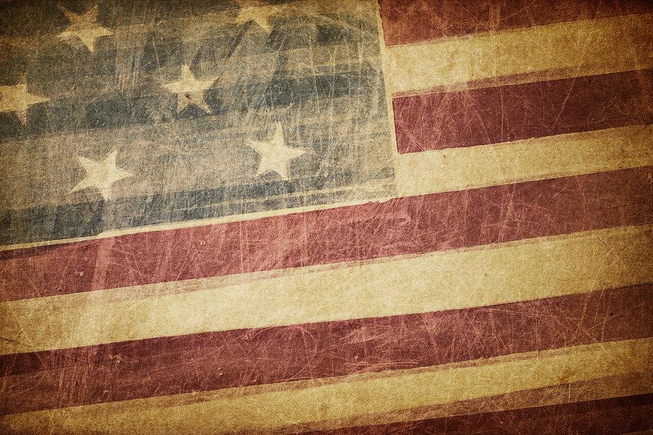 Vintage american flag grunge background.