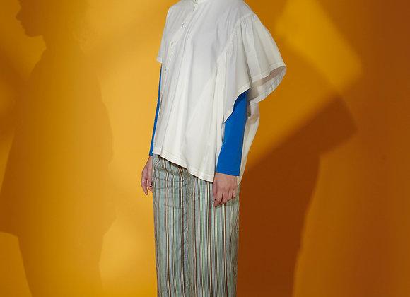 Asymmetric Gathers Poplin Short Sleeve Shirt