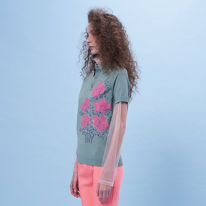Hand Drawing Flower Knit Sweater