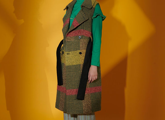 Antique Check Woolen Coat