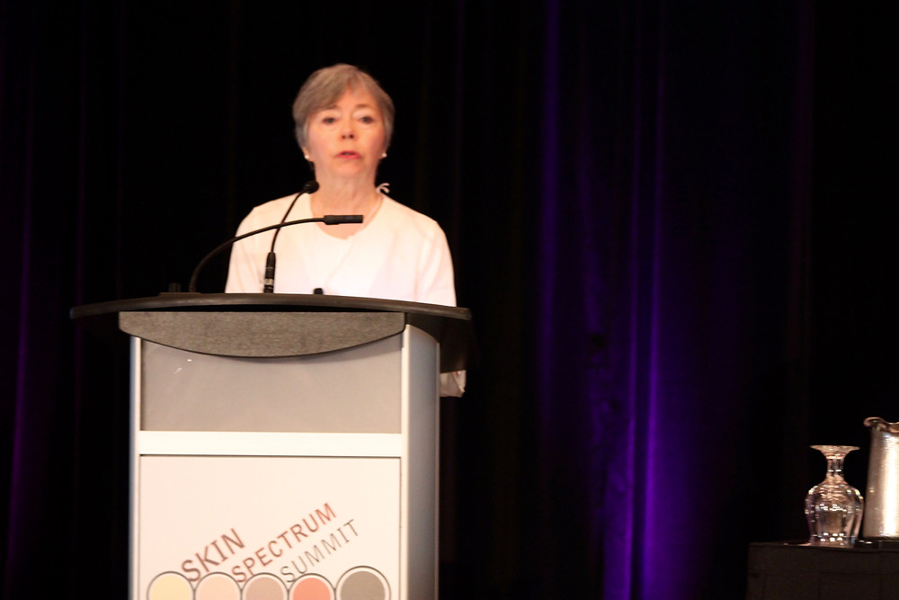 Dr. Eileen Murray speaking at Skin Spectrum Summit, Vancouver, June 4, 2016/ Photo by Emily Innes-Leroux