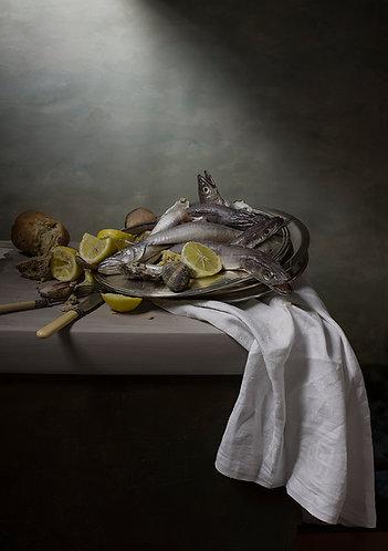 Merlus et citrons - Tirage original