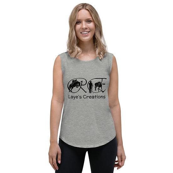 Ladies' Cap Sleeve T-Shirt - black logo