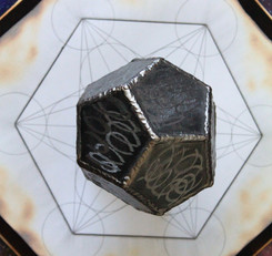 Hand welded dodecahedron home decor on hand drawn handmade metatrons cube artwork on burne