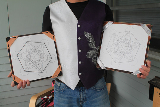 Bob holding Hand drawn metatrons cube on