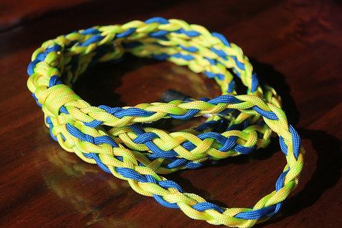 Medium paracord slip leash, yellow & blue
