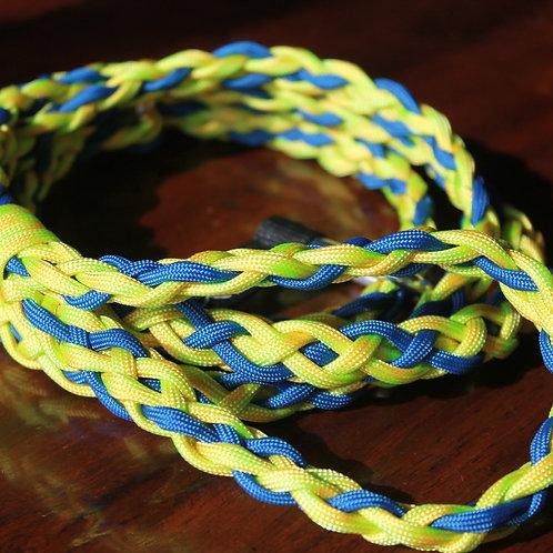 Braided Slip Leash - yellow/blue