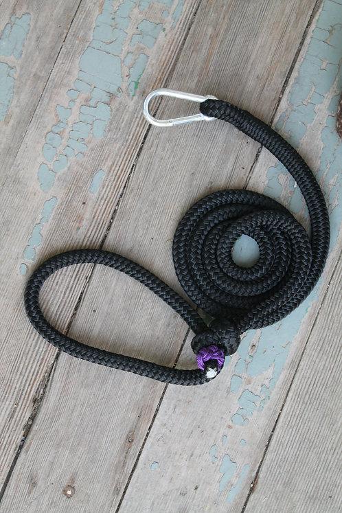 Rope pet leash, black & purple