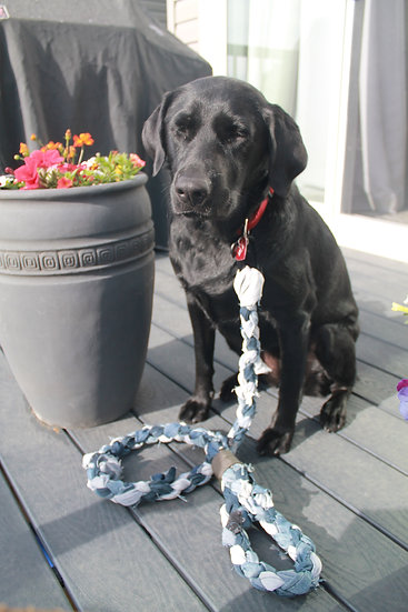 Upcycled denim pet leash in blue and grey