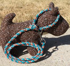 Hand braided paracord pet leash, medium, teal orange, Canadian made (2).JPG