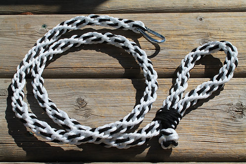White with black cotton leash