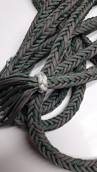 Braided clinician length lead rope in grey and green