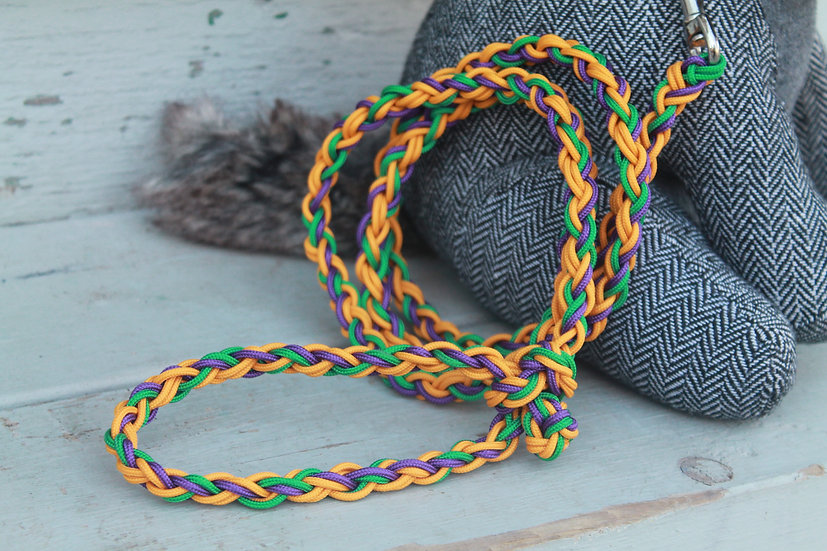 Braided dog leash in yellow, green and purple