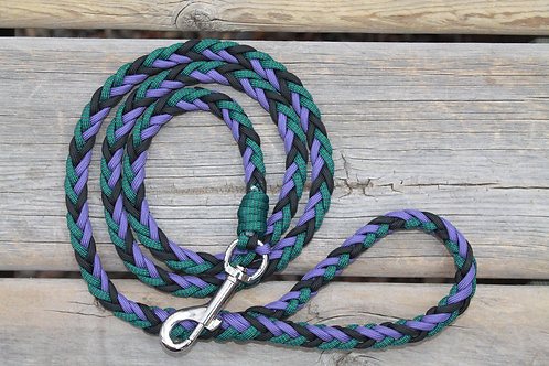 Med. paracord dog leash, green & purple