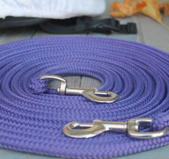 Canadian made nylon rope roping reins in purple, spliced in southern AB.JPG