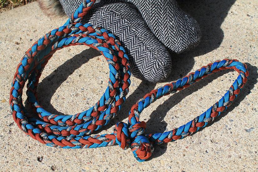 Teal & rust braided leash - medium