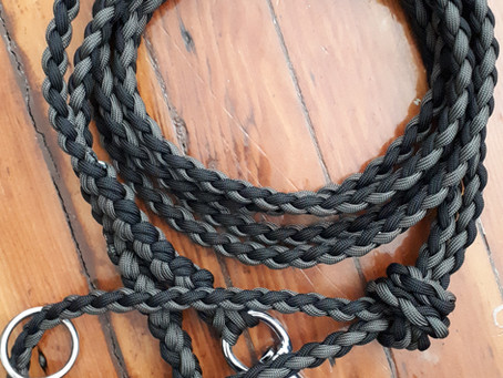 Black and grey double clip leash (custom order inspiration)