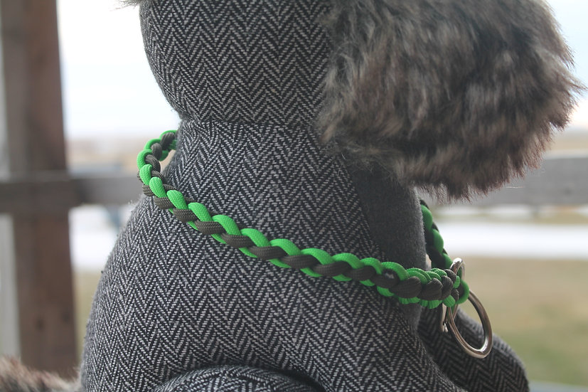 Braided pet slip collar in lime and olive