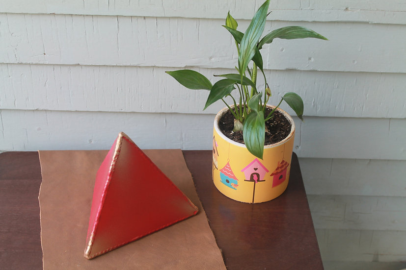 Large red and gold welded tetrahedron