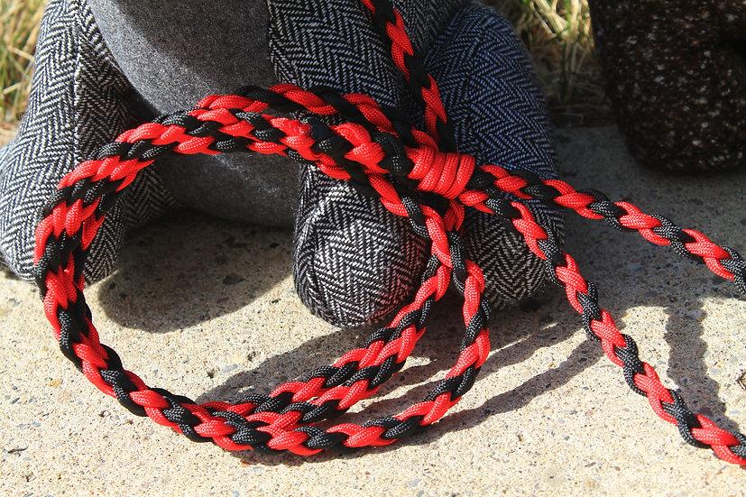 Red & black braided leash - small