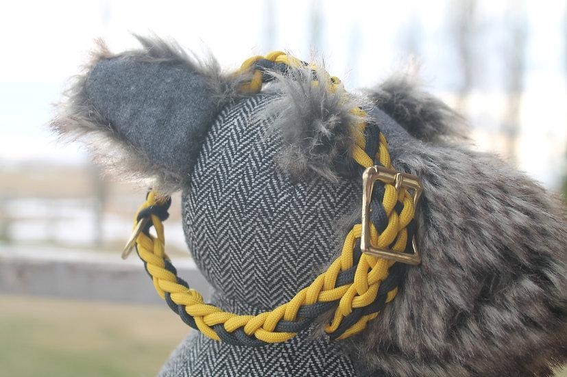 Medium braided pet collar in black and yellow