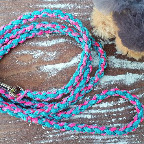 Braided Leash - pink/blue
