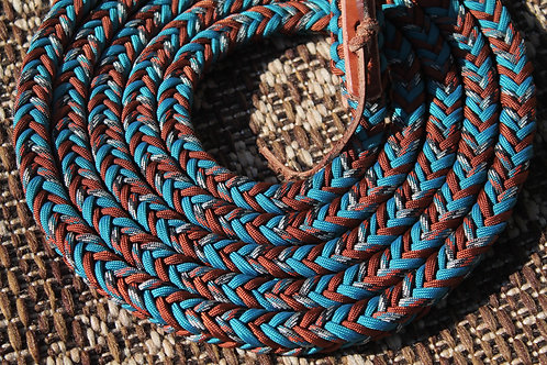Paracord riding reins, teal & rust