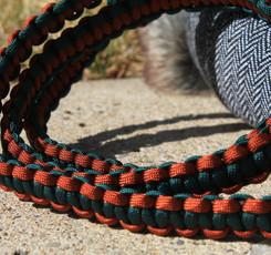 Handmade in southern AB, cobra stitch pet leash, large, green rust (5).JPG