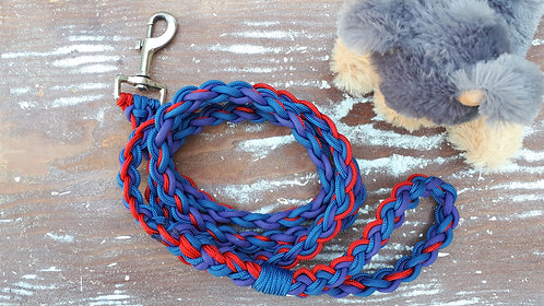 Large paracord dog leash, red & blue