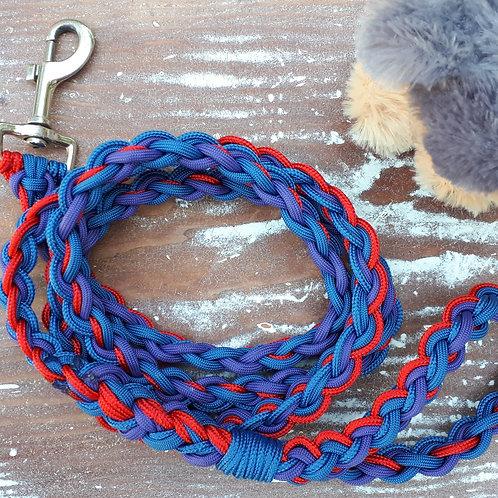Braided Leash - red/blue/purple