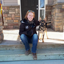 Sarah and rescue dog, Chally.jpg