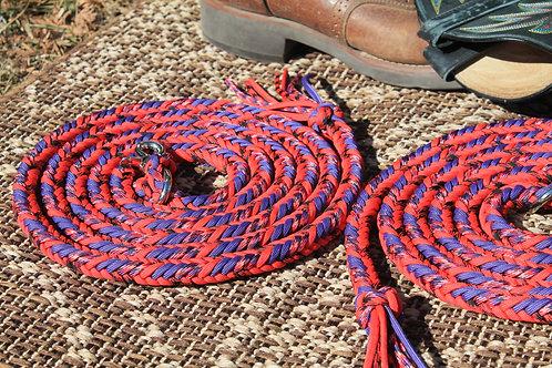 Paracord split reins, red