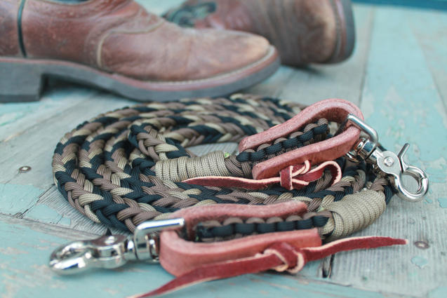 Braided paracord roping reins