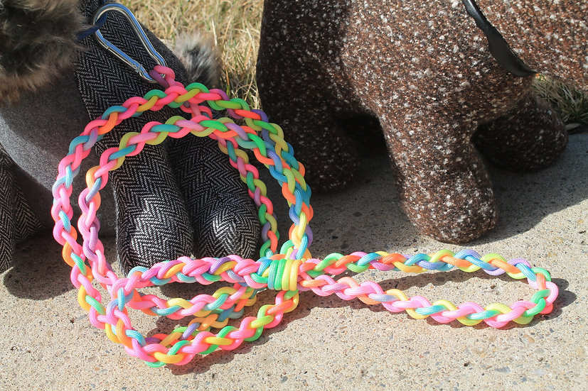 Small braided leash - pastels