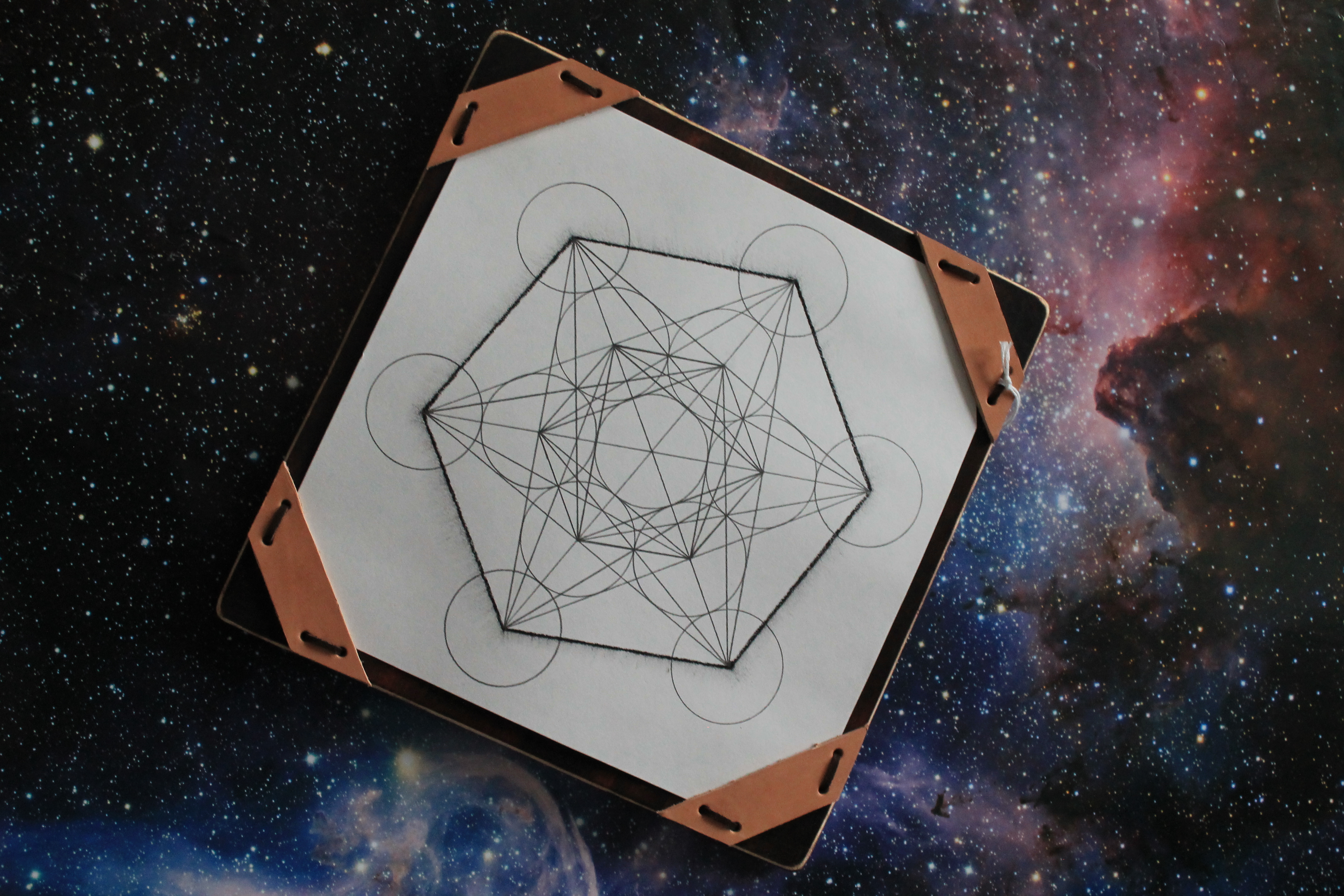 Bob's hand drawn metatron's cube, which contains all five platonic solids.