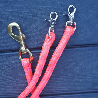 Matching pink lead rope and roping reins